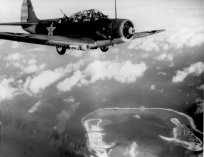 The Douglas TBD Devastator seen over Wake Island in February 1942